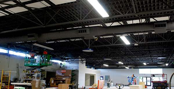 commons area acoustic ceiling tile installation
