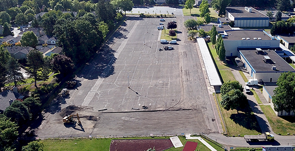 aerial view of bus dropoff area repairs