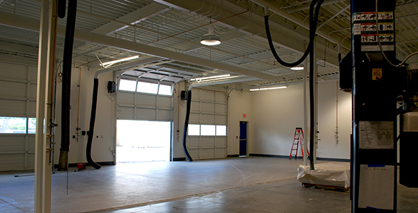 west interior of completed auto shop expansion