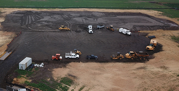 aerial view of grading on site