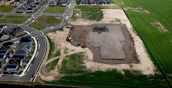 aerial view of continued grading on the site
