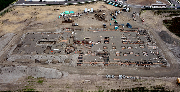 aerial view of foundation forms