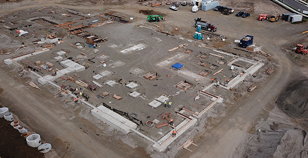 aerial view of foundation construction