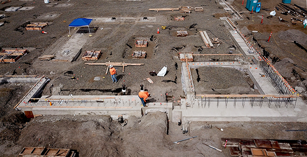 aerial view of northeast corner of foundation