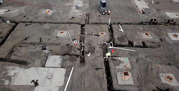 aerial view of utility pipe installation