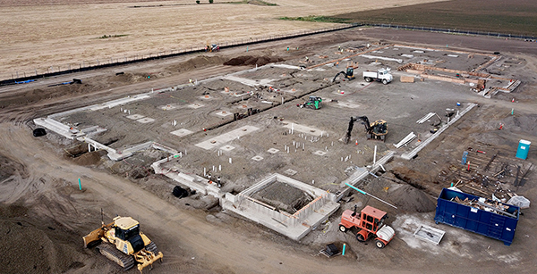 aerial view of foundation work facing southwest