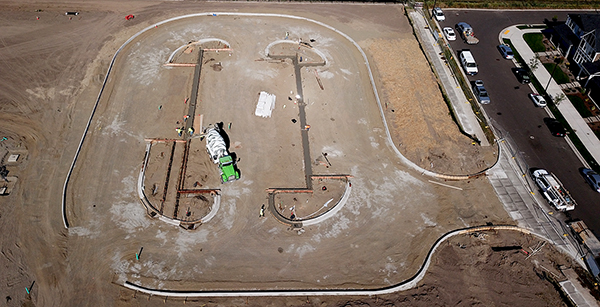 aerial view of staff parking lot construction