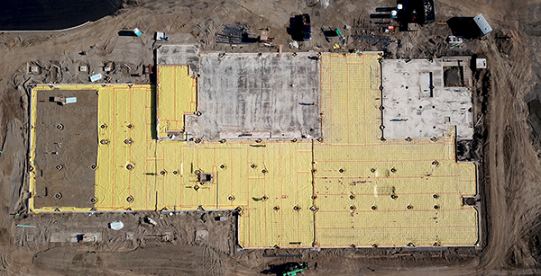 aerial view of prepped foundation