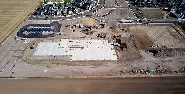 aerial view of construction site progress