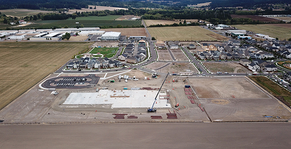 aerial view of ES28 construction site