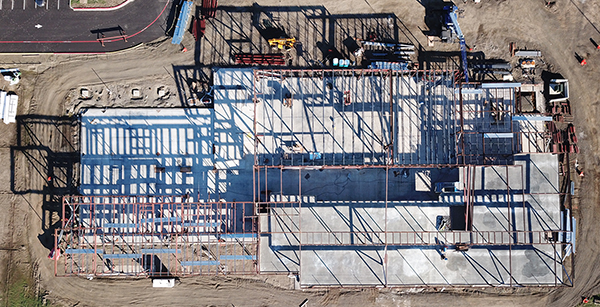 aerial view of AFES building construction