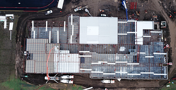 aerial view of roof panel installation so far