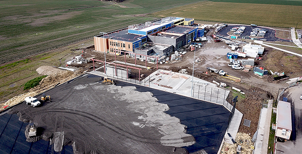 aerial view of campus under construction