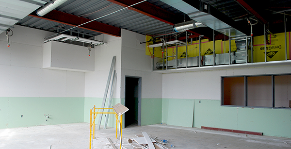 HVAC ductwork in first-floor classroom