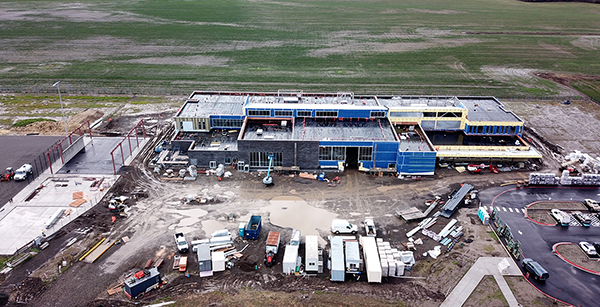 aerial view of front construction