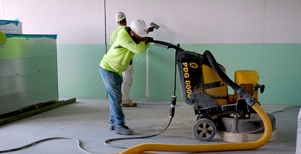 buffing concrete floor