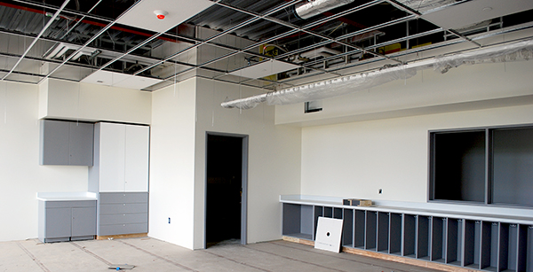 first-floor classroom ceiling work