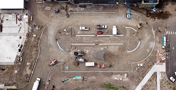 aerial view of parking lot curbing