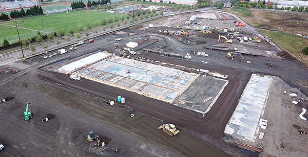 aerial view of Transportation construction site