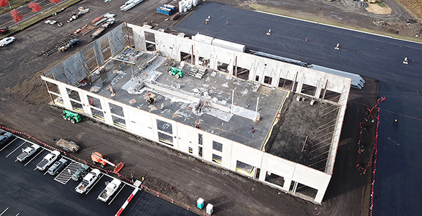 aerial view of Transportation building site