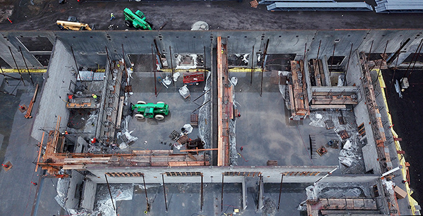 aerial view of construction of shop spaces