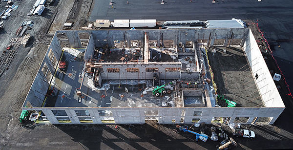 aerial view of building construction