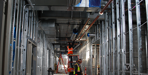 overhead construction work in first floor corridor