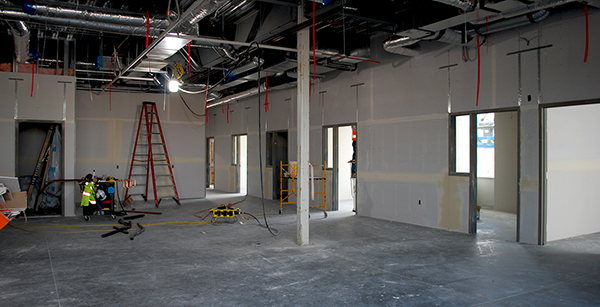 office area drywall finishing
