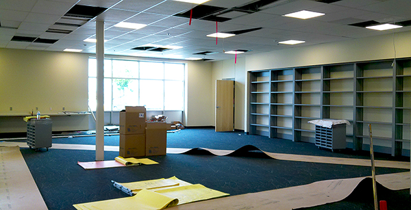 carpeting and casework installation in main office