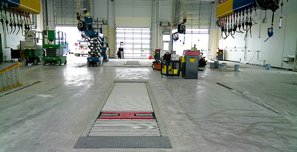 near-complete bus maintenance bay