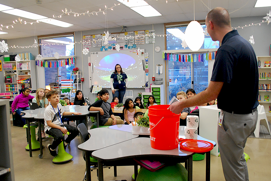 Principal Muilenburg explains use of emergency go-buckets