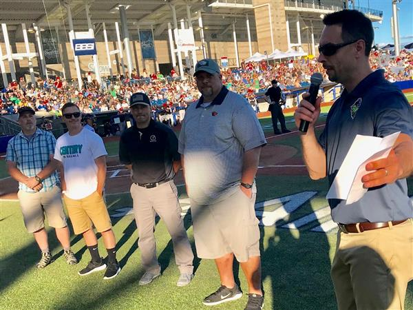 HSD coaches recognized at Hops game for positive coaching